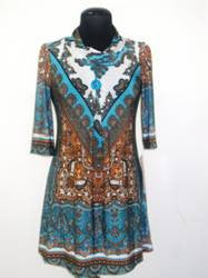Turquoise West Indies Print Dress Tunic with Button from Mechant - Carrie's Closet