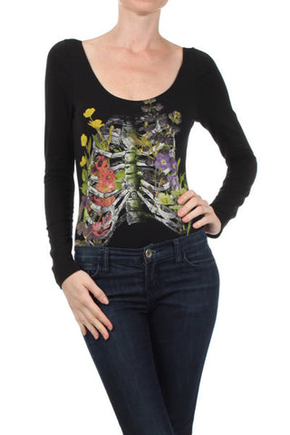 Skeleton Floral Long Sleeve Body Suit - Carrie's Closet