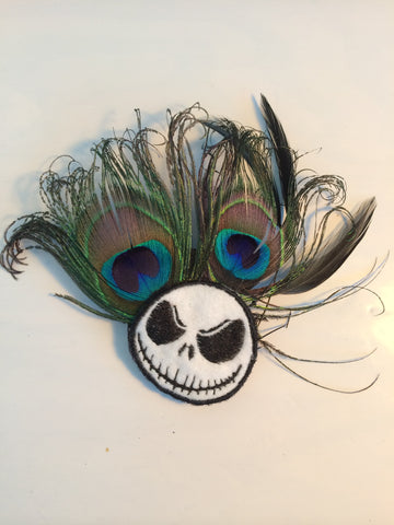 Peacock Feather Hair Fascinator with Jack Inspired Tim Burton Decal - Carrie's Closet