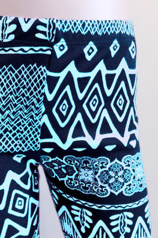 KIDS Aztec girls Leggings Baby Blue children - Carrie's Closet