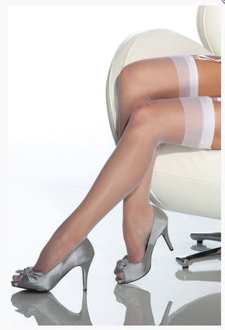 White Sheer stockings Thigh High One Size Coquette