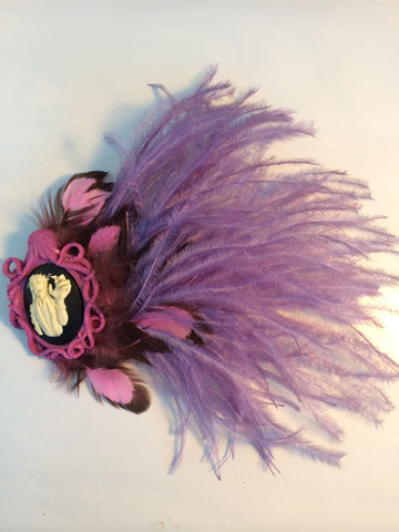 Pink Purple Zombie Octopus Feather Fascinator Burlesque Hair Clip - Carrie's Closet