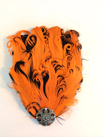 Orange and Black Embellished Fascinator Hair Clip - Carrie's Closet