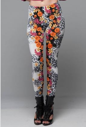 pink and orange floral and leopard leggings - Carrie's Closet