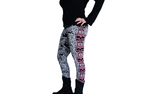 Skull & Feather Plus Size Leggings in Pink