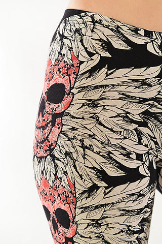 Skull & Feather Leggings in Pink - Carrie's Closet