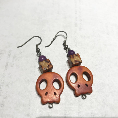 purple and orange skull earrings 2 inches - Carrie's Closet