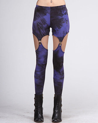 purple tie dye suspender leggings - Carrie's Closet