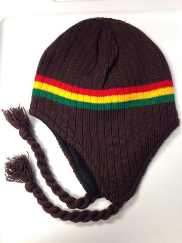 Brown Rasta Knit Fleece Lined Trapper Hat with braids and tassles - Carrie's Closet