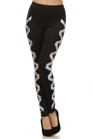Black and Silver Corset Leggings - SMALL - Carrie's Closet