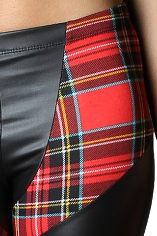Tartan Pleather Leggings