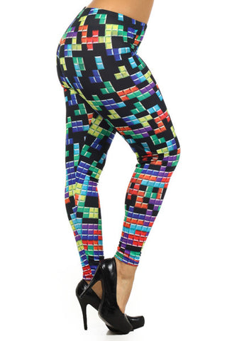 tetris gaming cosplay plus size leggings - Carrie's Closet