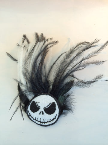 Black and White Feather Hair Fascinator with Jack Inspired Tim Burton Decal - Carrie's Closet