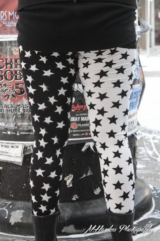White and Black Stars Leggings - Carrie's Closet