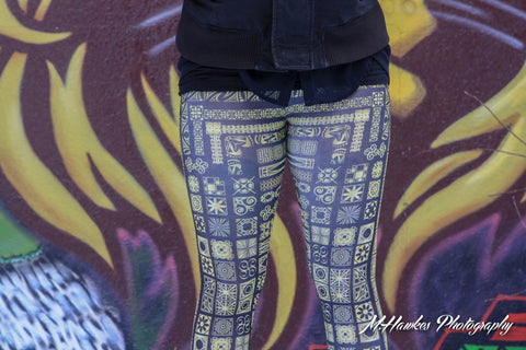 Charcoal Gray and Yellow Aztec Leggings - Carrie's Closet  - 1