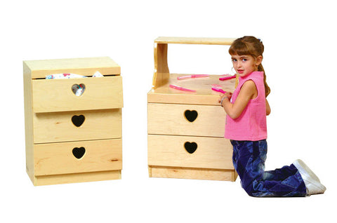 Shatterproof acrylic mirror for safety, the 2-drawer chest is great for storing your dramatic play items.