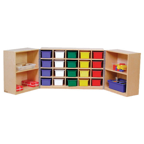 Two 2-tier storage shelves and a 20-hole cubby combined and on wheels for a perfect on-the-go storage.
