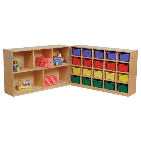 20-hole cubby combined with a 2-tier storage, on wheels for great storage capacity on the go!