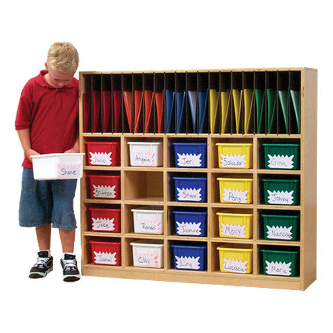 With 20 file folder slots, this cubby is a perfect fit for teachers when they need to send home some paperwork, and the cubby slots are great for storing your kids' items.