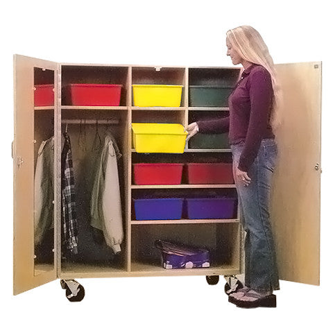 Mobile Clothes Bar Storage Cabinet