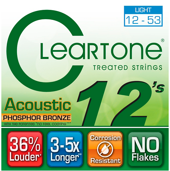 Cleartone Phosphor-Bronze Light Acoustic Guitar Strings 12-53 - Banjo Studio