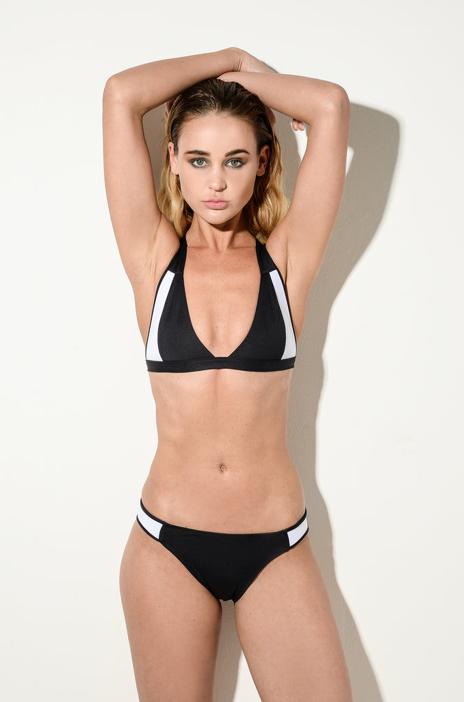 BLACK | Collection Four - Black Cross Over Bikini Top & Neo Side Briefs