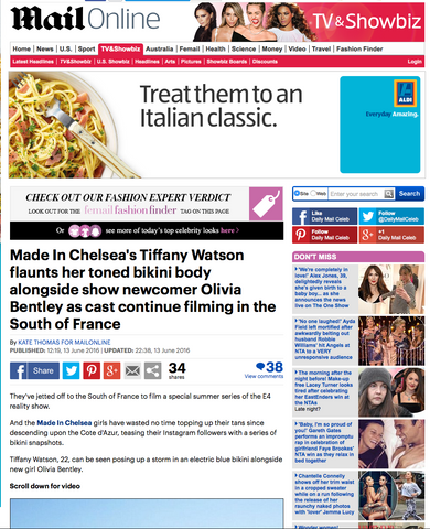 Daily Mail featuring Made in Chelsea's Tiffany Watson wearing TODIVEFOR bikini
