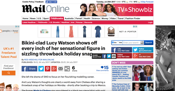 Mail Online featuring Lucy Watson wearing ToDiveFor