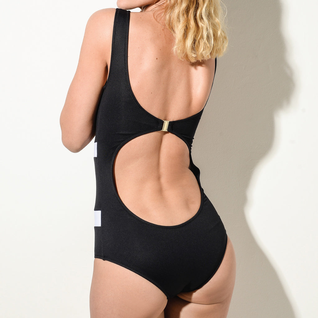 BLACK High Neck Swimsuit
