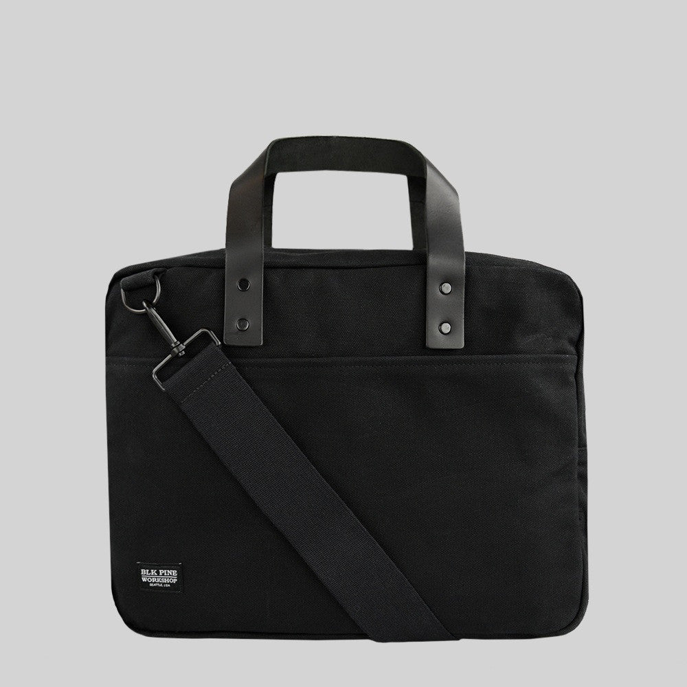 Leather Canvas Briefcase | Black