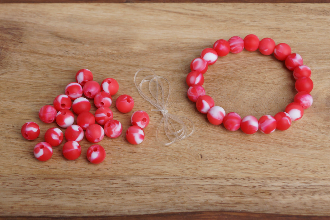 red tie-dye silicone bead bracelet kit
