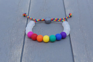 translucent and rainbow beads adjustable silicone bracelet on rainbow paracord