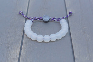 translucent  adjustable silicone bead bracelet on purple camo paracord