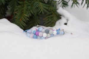 Winter colours adjustable silicone bead bracelets