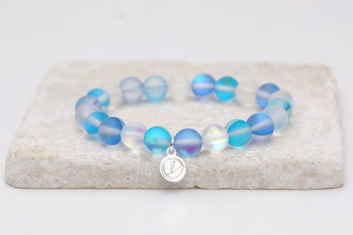 blue and white moonstone bracelet on elastic