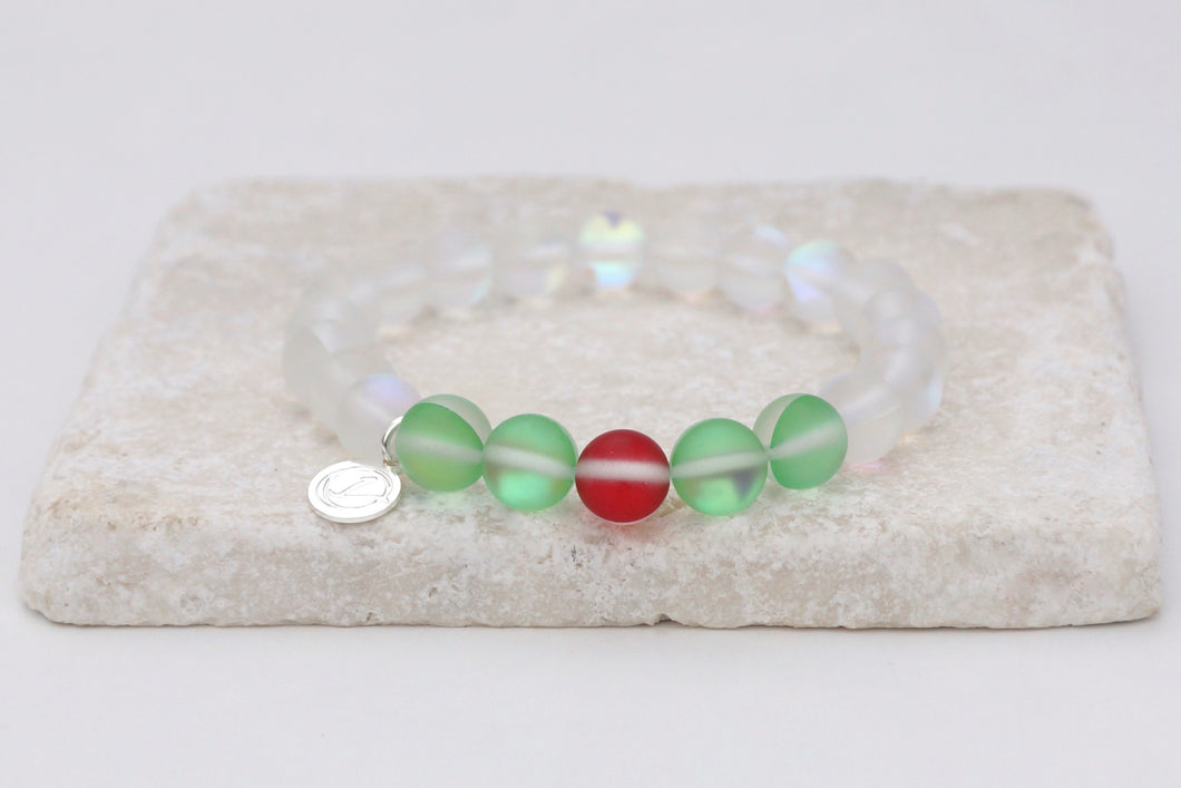 Christmas holly moonstone bracelet on elastic