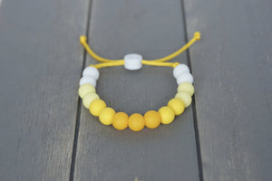 Yellow ombre adjustable silicone bead bracelet