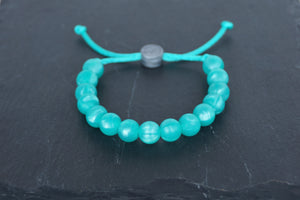 metallic turquoise adjustable silicone bead bracelet