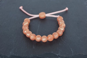 rose gold metallic adjustable silicone bead bracelet