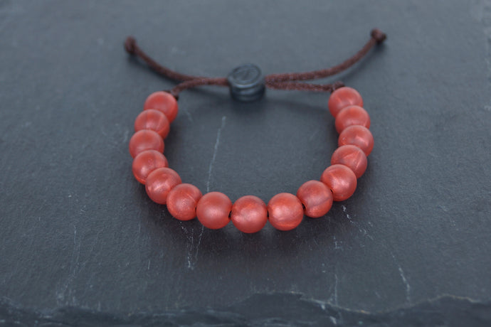 metallic red adjustable silicone bead bracelet