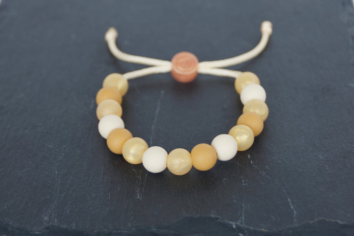 Mixed metallic gold adjustable silicone bead bracelet