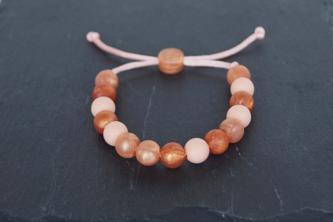rose gold, copper and peach adjustable silicone bead bracelet