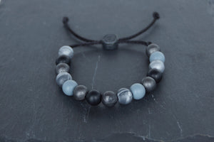 mixed metallic black and silver adjustable silicone bead bracelet