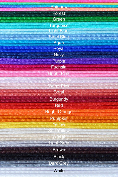 Nylon Cord Colours for Silicone Bracelets