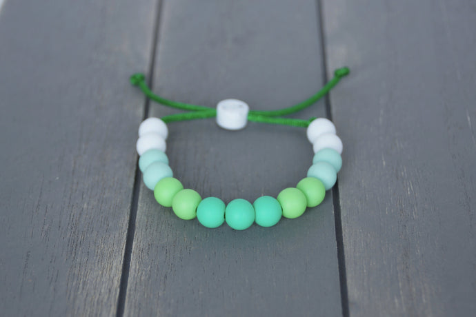 light green ombre adjustable silicone bead bracelet