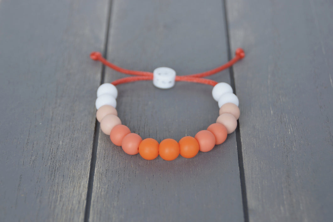 Orange ombre adjustable silicone bead bracelet