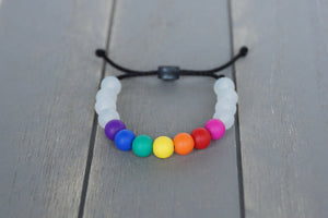 Translucent and rainbow beads adjustable silicone bracelet on black nylon cord