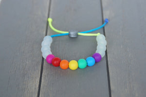 Translucent and rainbow beads adjustable silicone bracelet on rainbow nylon cord