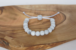 grey marble adjustable silicone bead bracelet