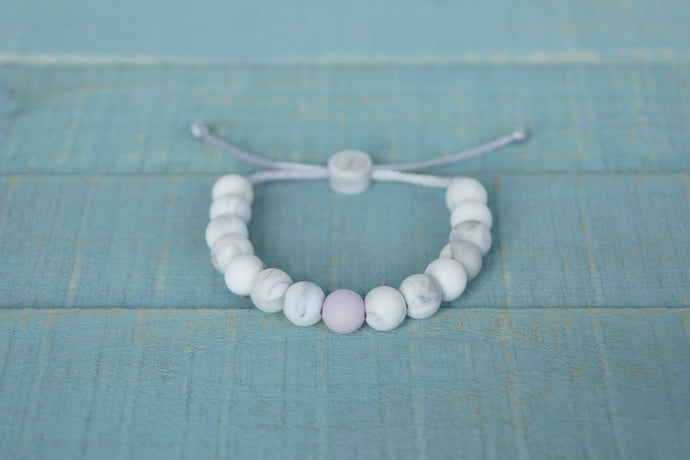 white marble with lilac accent bead adjustable silicone bracelet